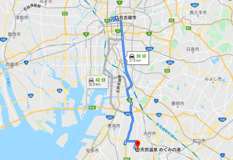 名古屋からめぐみの湯の地図